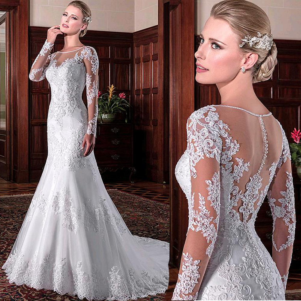 TPSAADE Exquisite Tulle Jewel Neckline Mermaid Wedding Dresses With Beaded Lace Applqiques Long Sleeves Bridal Dresses