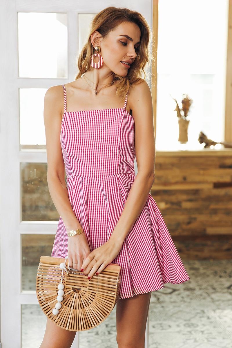 Backless Strap Plaid High Waist Mini Dress