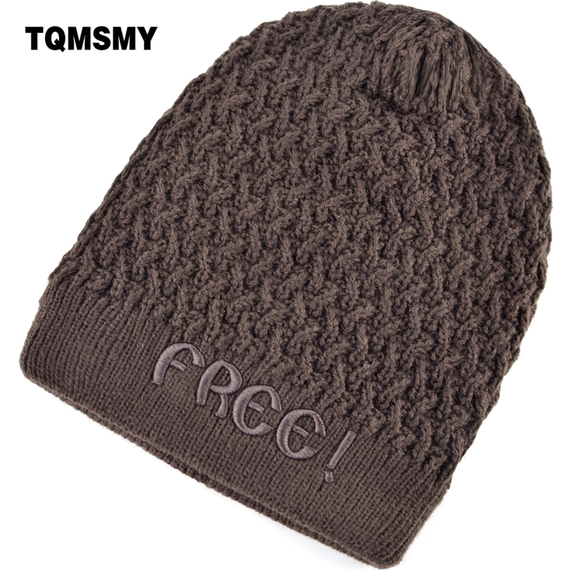 TQMSMY Winter Women's Hats Skullies for Men Knitted Casual Beanie with Velvet Letter free warm Hat Gorros Casquette Cap TMD22 unisex 1d one direction letter hats gorros bonnets winter cap skullies beanie female hihop knitted hat toucas with pompom ball