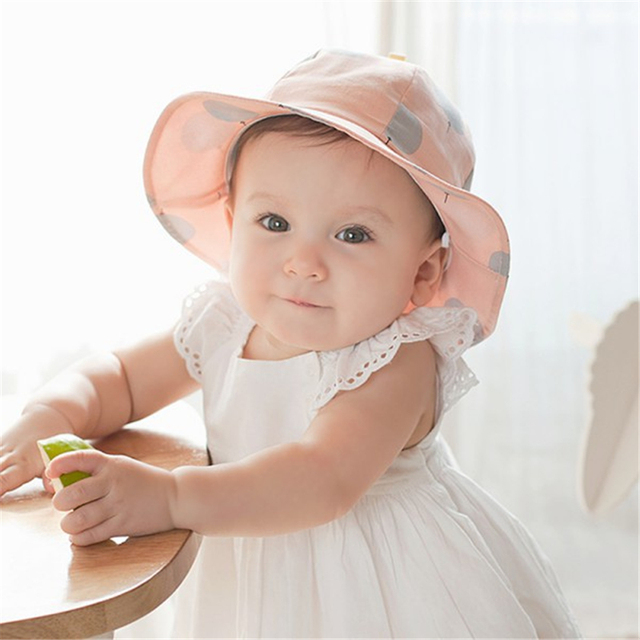 cd11633ed38 Toddler Infant Hats Sun Cap Polka Dot Summer Outdoor Baby Girl Hats Beach  Bucket Sun Hat
