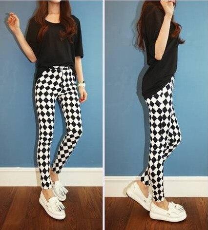 95ebd0b41bb5d3 Paragraph black and white plaid rhombus high waist slim skinny pants ...