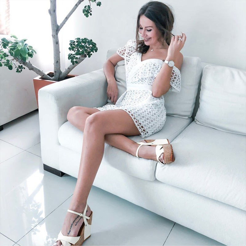 One Shoulder Party Dress Women Summer 2019 Fashion Hollow Out White Lace Dresses Sexy Ladies A Line Tuinc Midi Dress For Women in Dresses from Women 39 s Clothing