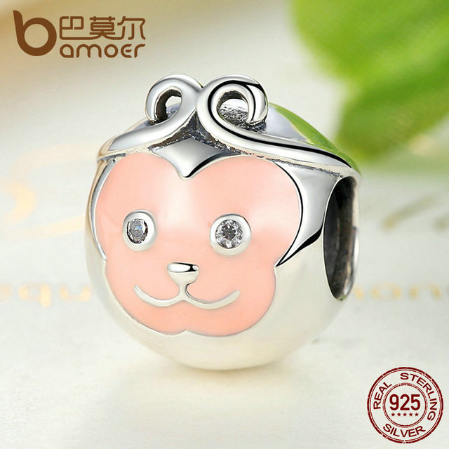 Sterling Silver Naughty Cute Pink Face Monkey Animal Charm