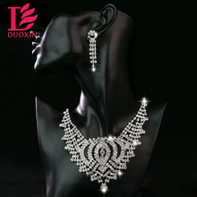 2016 New Arrival Big Heart Shape Rhinestone Decoration Collar Pendant Necklace Earrings Set Women Wedding & Engagement Jewelry
