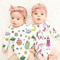 TinyPeople UFO Cartoon imprimer bébé body garçons onesie filles robe à manches longues automne coton mignon infantile nouveau-né bébé vêtements