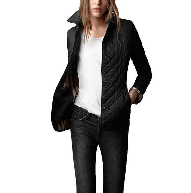 Mulheres Jaquetas de Outono Simples de Algodão Casaco Acolchoado Casaco Jaqueta Casual Moda Outerwear Xadrez Quilting Acolchoado Parkas