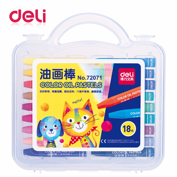 Deli 18 colors/box color oil pastel Crayons Artist drawing pens for kids professional wax crayon school supplies stationery uni colored pencil crayon art drawing crayons school stationery office art supplies oil crayons rip by hand crayon 7600