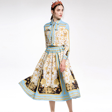 RED ROOSAROSEE Spring Summer 2018 Female New Printing Lapel Long Sleeved Shirt + Large Swing Skirt Suit