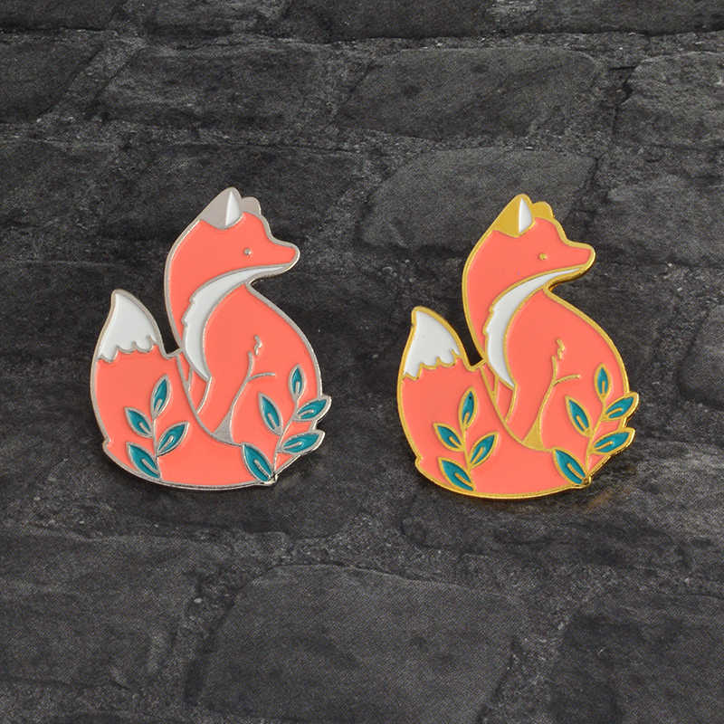 Hot Sale! Hewan Pin Cute Hewan Hutan Smart Fox Lencana Bros Kerah Pin Fox Perhiasan Enamel Pin Bros