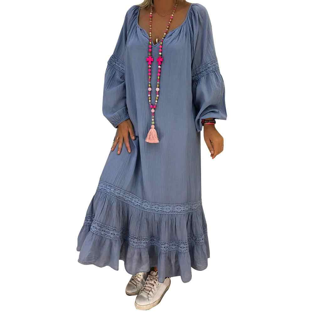 aae9272c4b6 Autumn Plus Size Lace Pieceing Dresses Women 4xl 5xl Loose Large Size Dress  O-neck