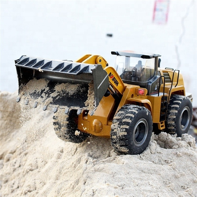 HUINA TOYS 1583 583 1 14 10CH Alloy RC Bulldozer Truck with Front Loader Truck Engineering