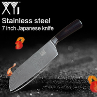 XYj Kitchen Knife 7 Inch Professional Santoku Knives Japanese 7CR17 High Carbon Stainless Steel Meat Santoku