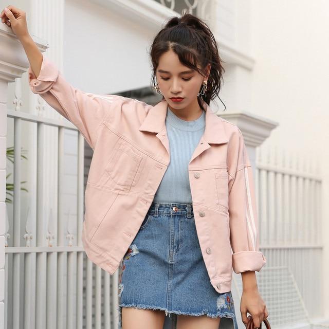22ab7eea942 New 2018 Women Basic Pink Denim Jacket Girls Coat Jeans Jackets Ladies  Loose Outerwear Harajuku Coats Boyfriend Women s Clothing