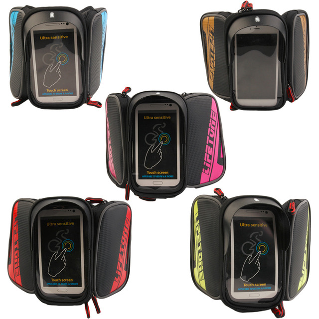 LIFETONE Bicycle Frame Front Head Top Tube Waterproof Bike Bag&Double IPouch Cycling For 6.0 in Cell Phone Bike Accessories