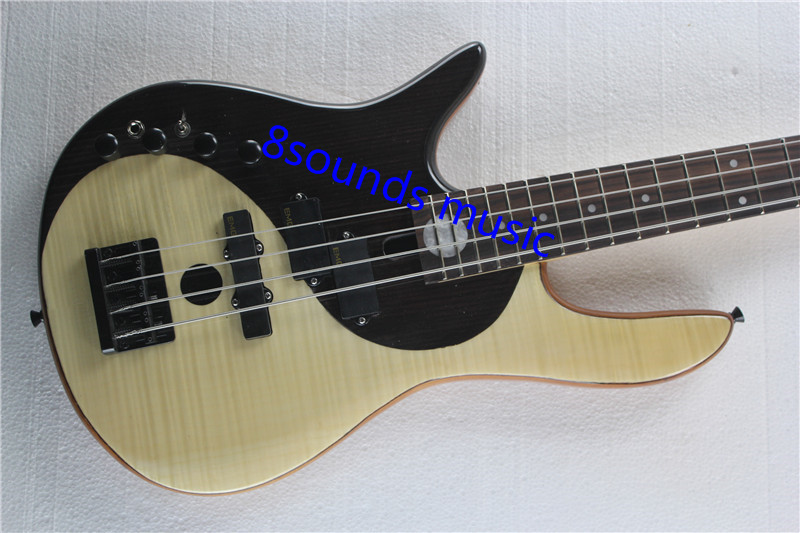 free shipping left handed Bass Guitar Flamed Maple Top Yin Yang Butterfly 4 string Bass Guitar Guitarra