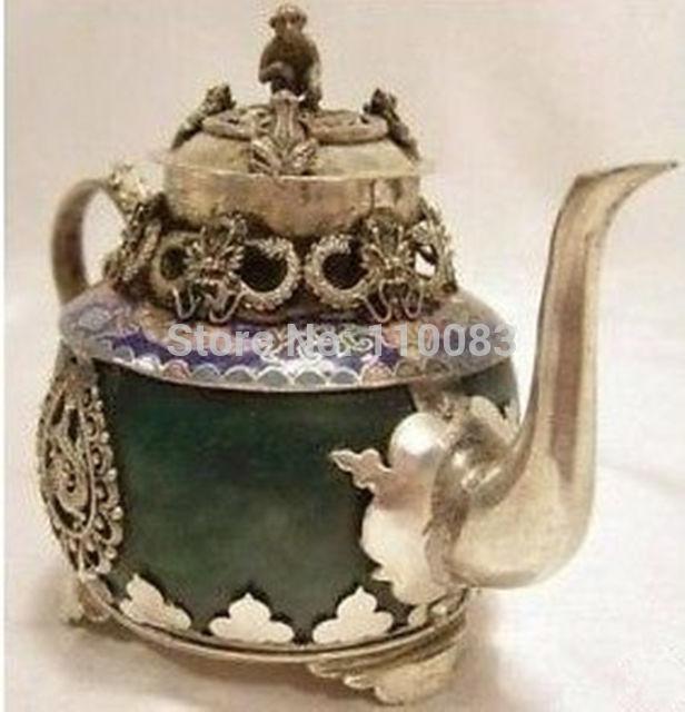 Chinese old Tibetan silver Dragon Lion Green jade Cloisonne teapot Monkey