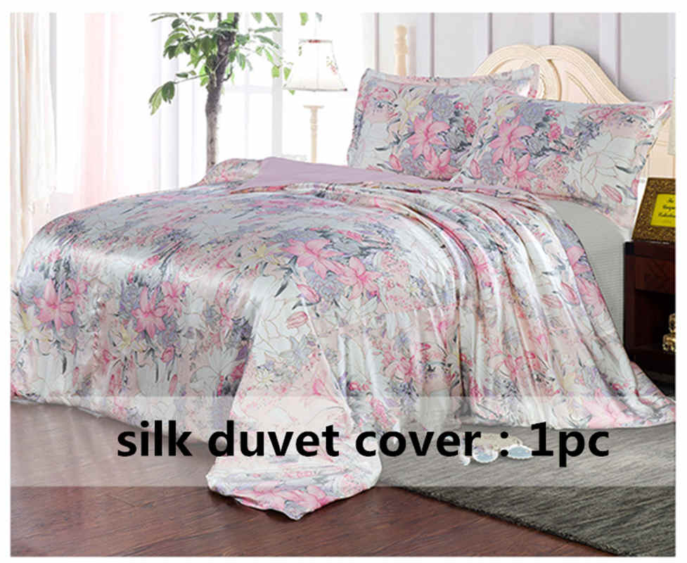 Capa de Edredão de seda 1 pc 100% Seda Amoreira Impresso Floral De Seda Multicolor Gêmeo Completa Rainha Rei Cal. rei outro tamanho ls170902