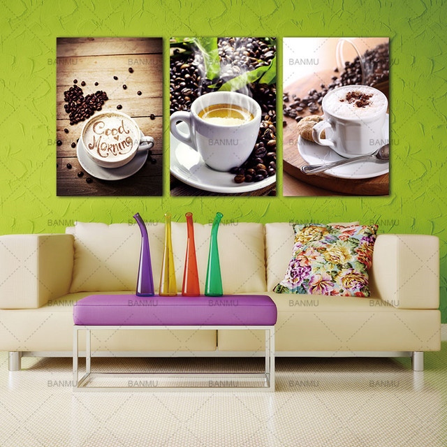 Wall Art Picture Canvas Paintings 3 Panels Photo Prints Modern Kitchen Scene Coffee On No Frame