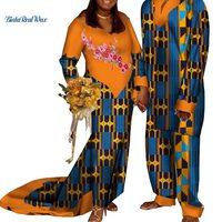 Новая африканская принт Аппликация Длинные платья для Для женщин Базен Мужская рубашка и брюки наборы Lover пары одежда в африканском стиле К