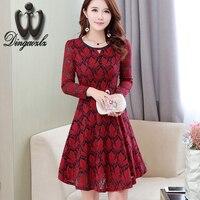 Dingaozlz 2017 Korean new fashion lace dress elegant long sleeves Slim mesh stitching casual dress Vestidos women dress