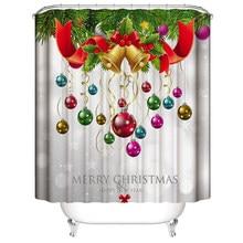 Hoomall 1PC Shower Curtain Christmas Curtains Printed Santa Claus Waterproof Cortina Home Textile New Year Bathroom