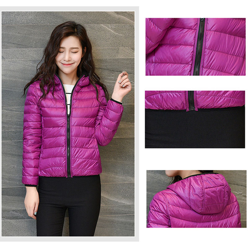 2018 Ultra Light Winter Jacket Women Hooded White Duck Down Jacket Female Fashion Sided Short Feather Coat For Ladies Clothing