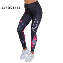 CHRLEISURE Print Leggings Women Polyester Push Up Ankle-Length Pants Stretching Work Out Leggings For Girl Casual