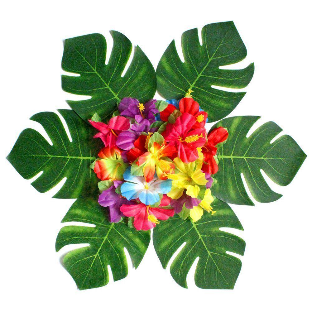 30pcs штучні тропічні листя паланти та 24 - Святкові та вечірні предмети