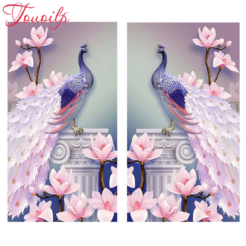 Pink Peacock  Flowers 5D Diamond Painting Embroidery Cross Stitch Kit Modern