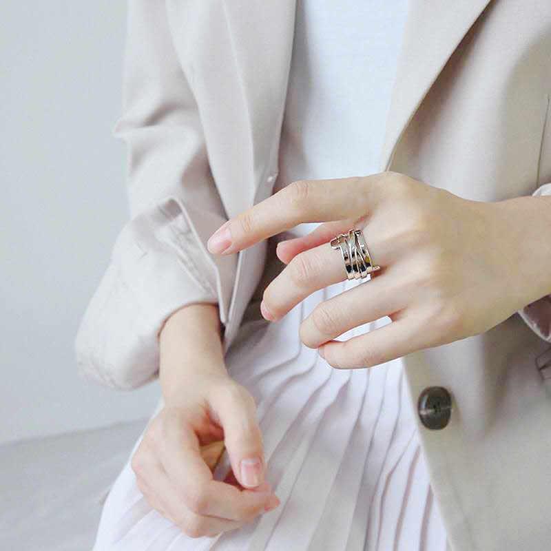 บุคลิกภาพ 925 เงินสเตอร์ลิงแหวนเรขาคณิตสำหรับผู้หญิงเครื่องประดับหมั้นหญิงเปิดแหวนนิ้วมือ