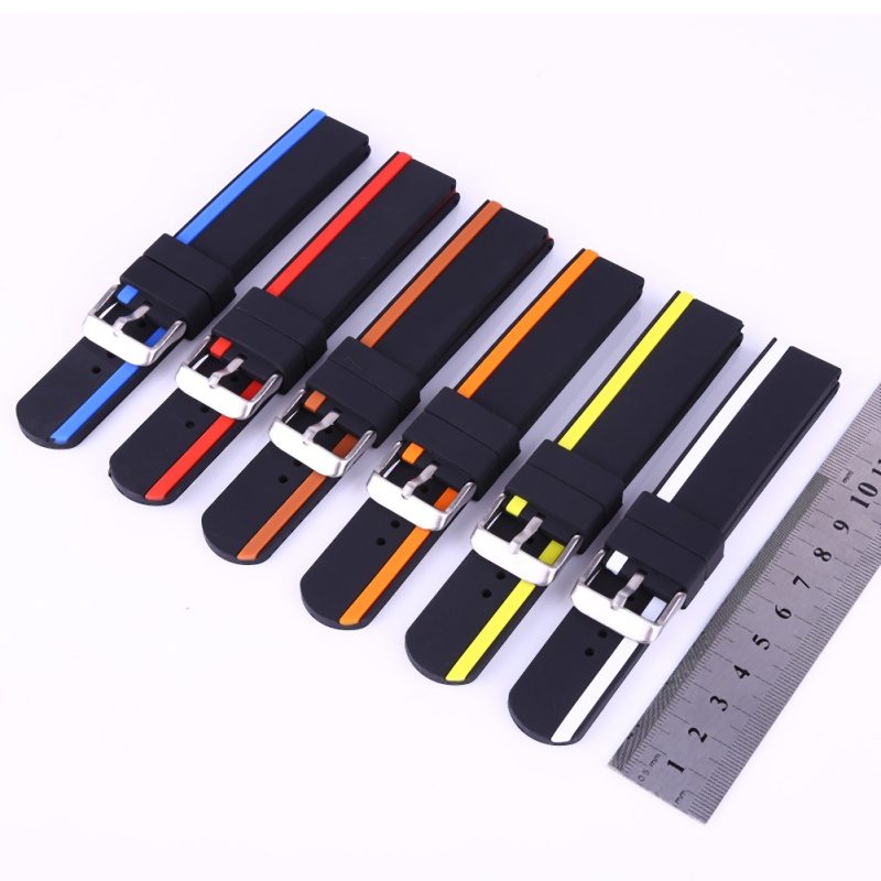 20mm 22mm 24mm Soft Rubber Sport Watchbands Diver Waterproof Silicone Watch Band Strap Double Colors Black Blue Red Orange L1