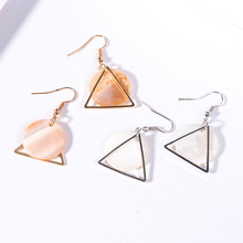 XZP Minimalist Brief Cool Style Silver Plated Alloy Round Square White Shell Dangle Fashion Earrings For Women Jewelry Brincos