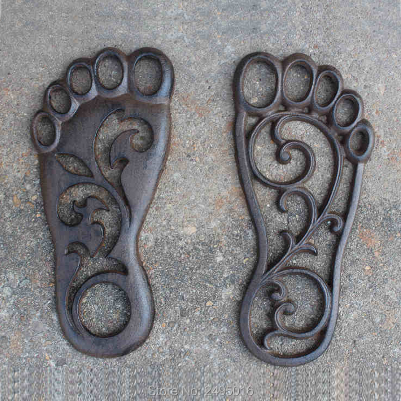 Set of 2 BARE FOOT Cast Iron Footprint Stepping Stone Garden Yard Art Decor in Plaques Signs from Home Garden
