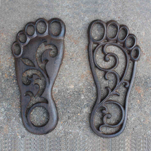 Set of 2 BARE FOOT Cast Iron Footprint Stepping Stone Garden Yard Art Decor cast iron bare gear oil pump bare pump head