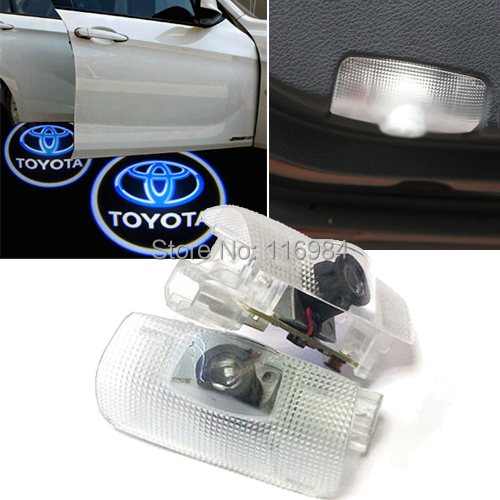 2pcs/pairs x LED Car door Led Welcome laser projector Logo Ghost Shadow Light For Toyota jurus led car door logo interior light ghost shadow welcome light laset wireless projector for toyota for vw for ford hot sale