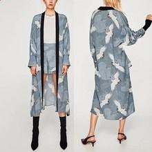 Women Long Kimono Ladies Elegant Bohemia Cardigan Blouse Print Womens Sleeve Casual Shawl Tops Shirts