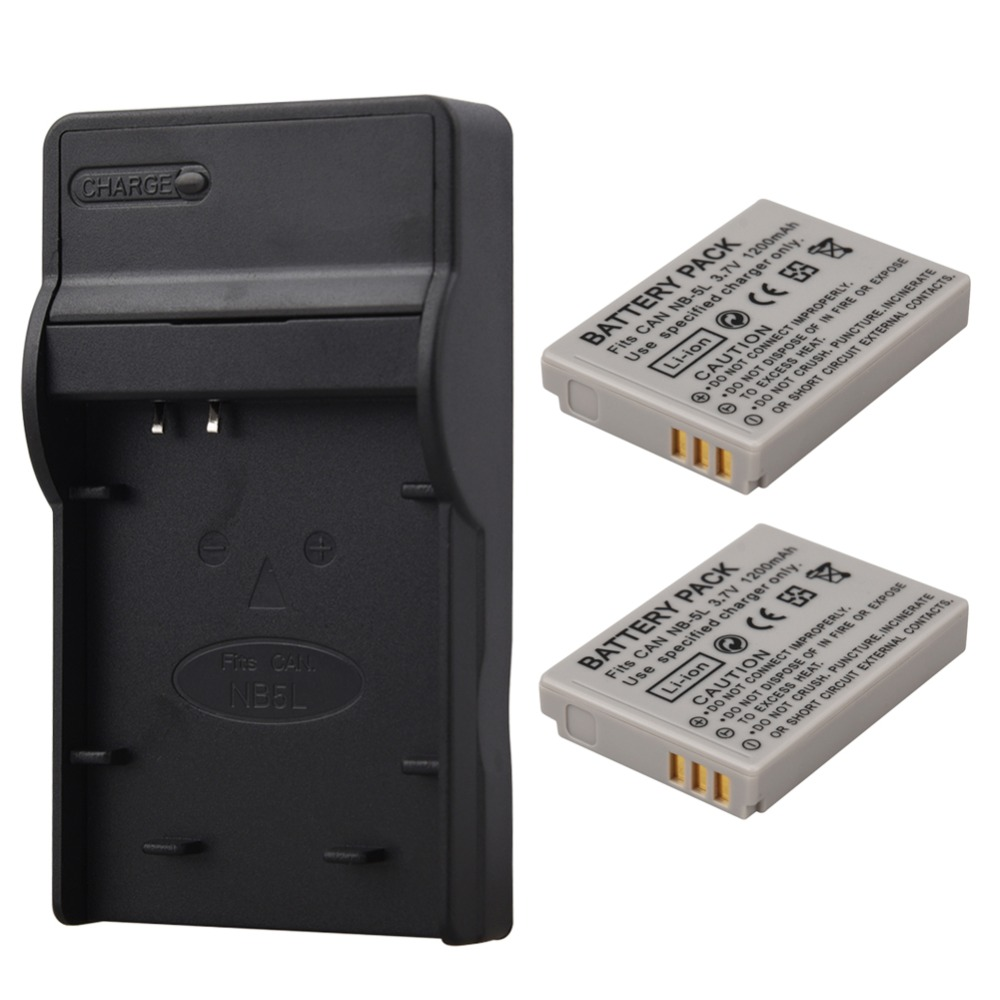 2Pcs 1200mAh NB-5L NB 5L Camera <font><b>Battery</b></font> For <font><b>Canon</b></font> SX200is SX210IS SX220HS <font><b>SX230HS</b></font> CB-2LXE PowerShot S100 S110 SD950 with Charger image