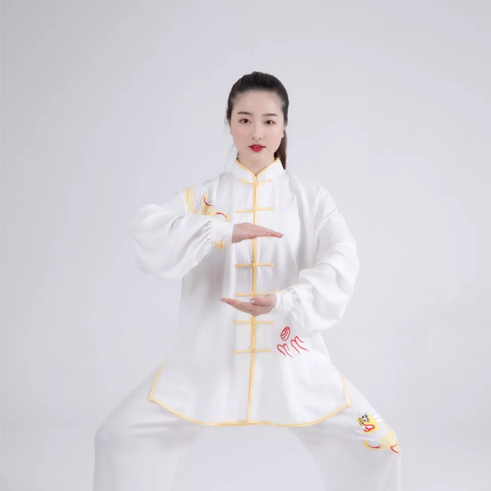 Kung Fu Tang Suit Martial Arts Wushu Clothing Chinese Ancient Costume Han Fu Flower Embroidery Silk Fabric