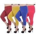 Polainas de los capris más el tamaño de las mujeres dulces de colores pantalones de medio cuerpo delgado summer capri leggings elásticos pantalones de cintura alta