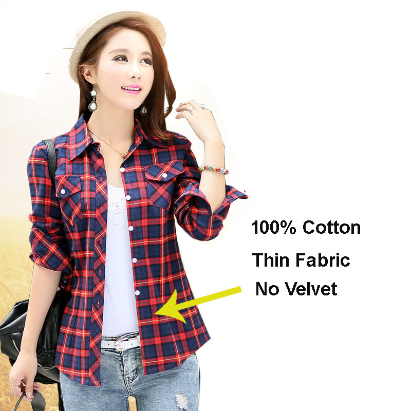 475d5b6b7aa9 2018 New Women Clothes 2XL Plus Size Thick Warm Winter 100% Full Cotton Plaid  Shirt Female Cashmere Long Sleeve Blouse Slim Tops-in Blouses & Shirts from  ...