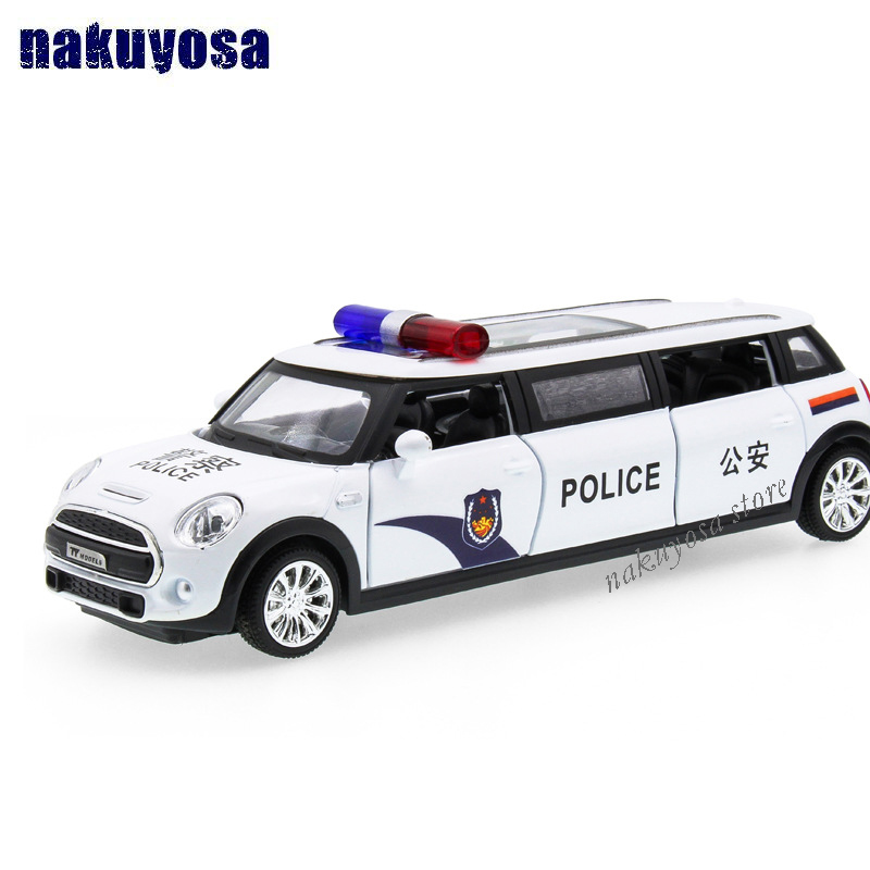 1 32 scale emulation pull back diecast metal lengthened police cars