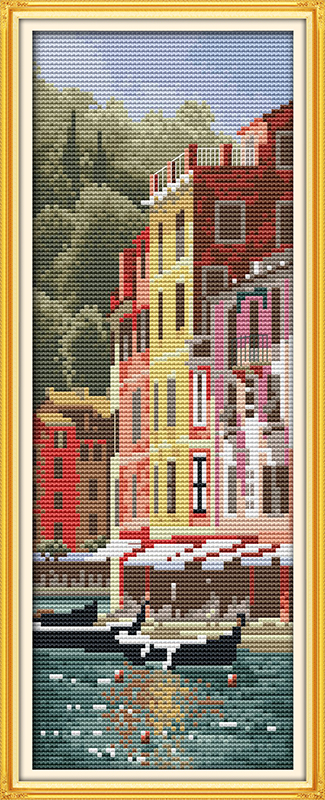 <font><b>Italian</b></font> Portofino cotton <font><b>home</b></font> scenery DMC <font><b>decor</b></font> Cross Stitch kits 14ct white 11ct print embroidery DIY handmade needlework wall