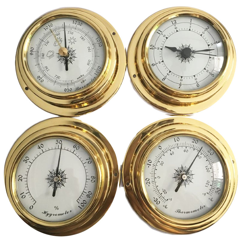Hight Quality 4 Inches 4 PCS/set 9193 Thermometer Hygrometer Barometer Watches Clock Weather Station 3pcs set hygrometer manometer thermometer barometer with wooden gift ornaments weather station instrument