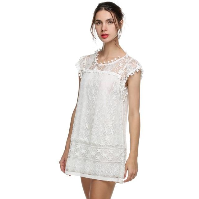 S 5xl Summer Lace Dress Plus Size Women Dress Big Size Crochet