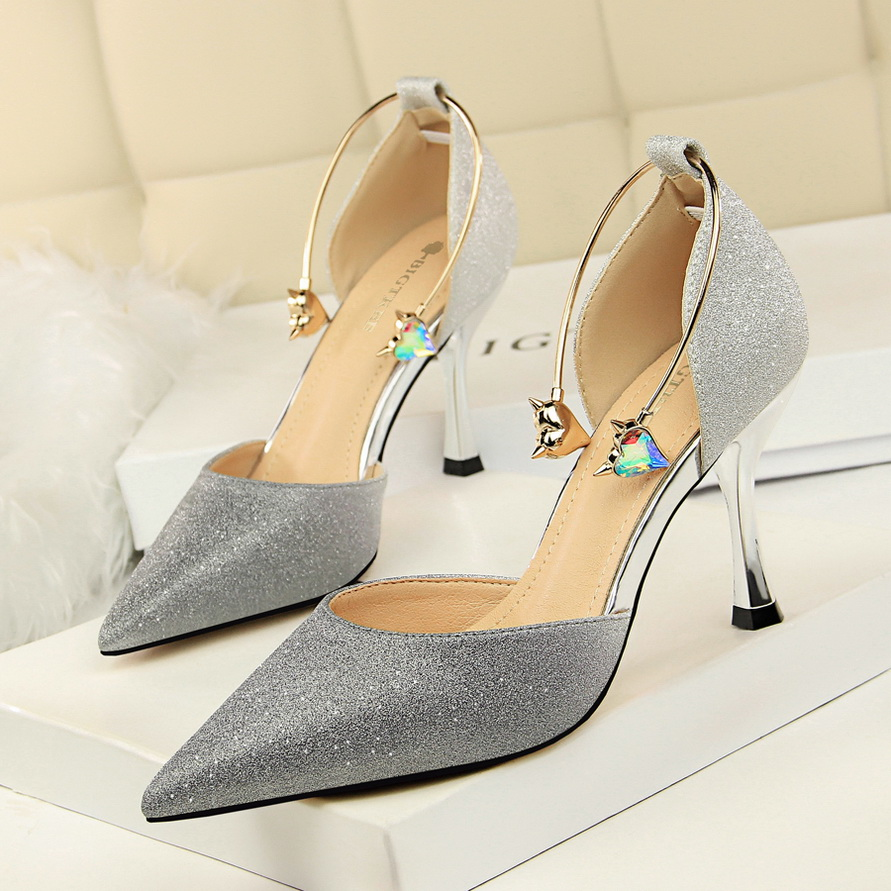 Most Shinny Glitter Wedding Shoes Open Bling Pointed Toe Pumps Bridesmaid High Heel Platform Party Wedding