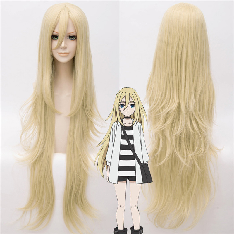 Rachel Gardner Angels of Death Cosplay Wig Ray 90 CM Gold Synthetic Anime Angels of Death Cosplay Wig Ray Women Hair+wig cap