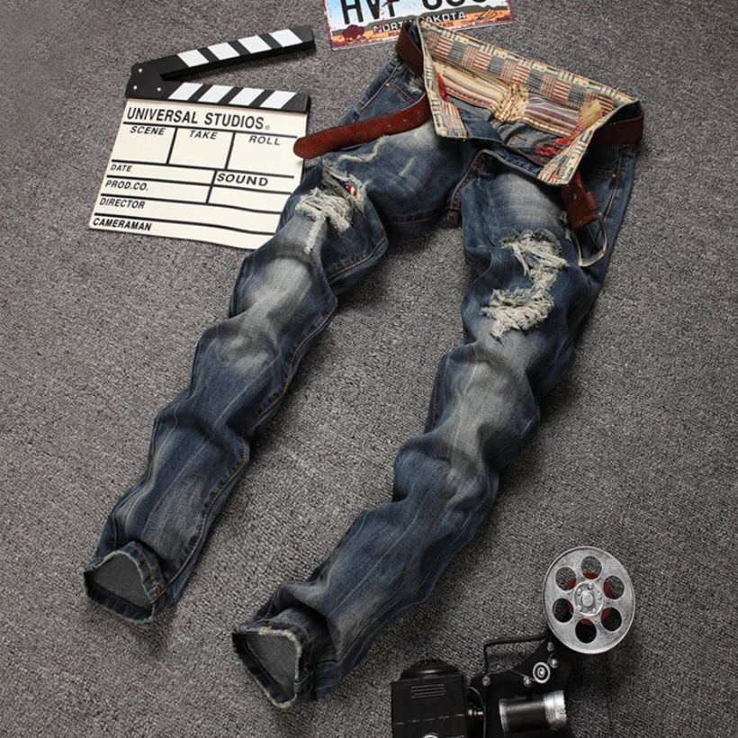 2017 New Men's Jeans casual washed cotton straight denim trousers fashion brand designer hole slim zipper ripped jeans for men 2017 fashion patch jeans men slim straight denim jeans ripped trousers new famous brand biker jeans logo mens zipper jeans 604
