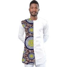 Mens Ankara Shirts Fashion Men Long Sleeve African Shirt Dashiki Male Patchwork Wax Print Festive Casual Kente