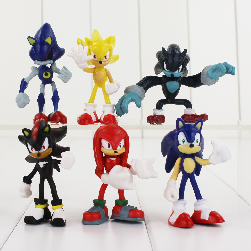 High qualiity 6pcs Sonic the Hedgehog Sonic / Shadow / Tails / Knuckles PVC Action Figures Collectible Model Toy