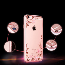 Romiky Bling Diamond Crystal Flower Plating TPU Soft Case For iPhone 7 plus 6s 6 5s SE 5 Covers Cases for iphone 6s 6 5s 7